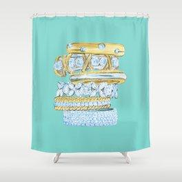 Golden Rings on Blue Shower Curtain