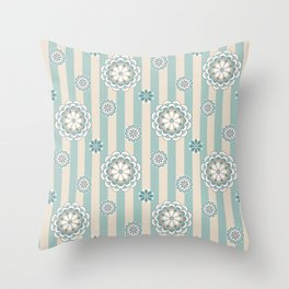 Mod Flowers on Seafoam and Beige Stripes Throw Pillow