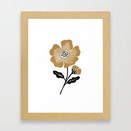 Stem - linocut floral botanical folk style art print Framed Art Print