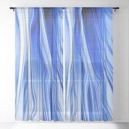 Streaming Blues Sheer Curtain