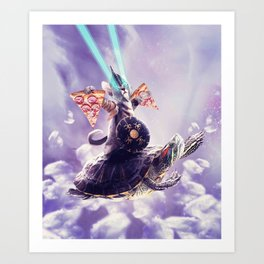Tornado Cat Riding Turtle Eating Pizza Art Print