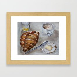 French breakfast, coffee and croissant, original oil painting, daily traditional art Framed Art Print