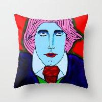 oscar wilde Throw Pillows featuring Oscar Wilde by Pluto00Art / Robin Brennan