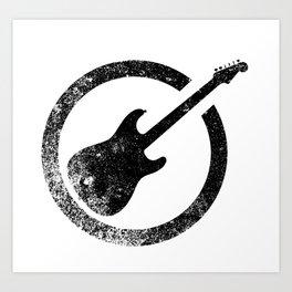 Black Guitar Ink Stamp Art Print