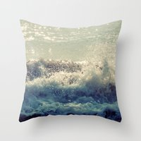 wave Throw Pillows featuring wave by Neon Wildlife