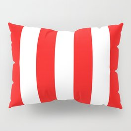 Jumbo Berry Red and White Rustic Vertical Cabana Stripes Pillow Sham