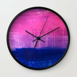 Bisexual Flag: abstract acrylic piece in pink, purple, and blue #pridemonth Wall Clock