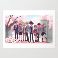 digimon Art Prints featuring DIGIMON TRI by luttu