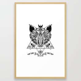 Serpent Tongue Wolf, Moth Insects, Third Eye Geometric Triangle Shapes Framed Art Print