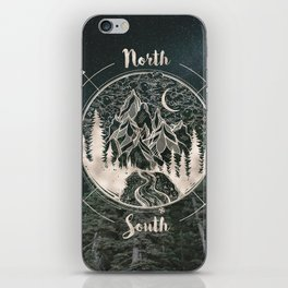 Mountains Compass Milky Way Woods Gold iPhone Skin