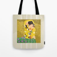 gustav klimt Tote Bags featuring The Kiss (Lovers) by Gustav Klimt  by Alapapaju