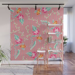Modern trendy red flame scarlet stripes tropical bright floral pattern Wall Mural