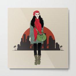 Girl With Kitsune Mask Metal Print