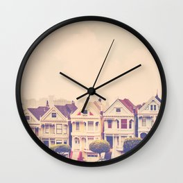 Darling do come see us! San Francisco Painted Ladies photograph Wall Clock
