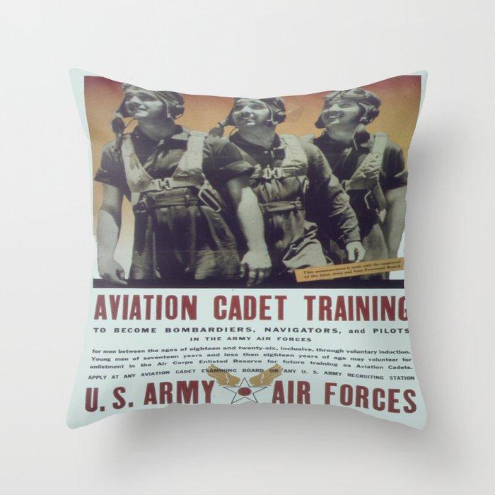 Vintage poster - Aviation Cadet Training Throw Pillow