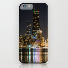Chicago North Shore Skyline Night iPhone Case