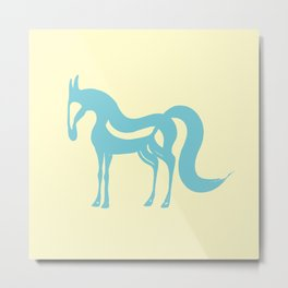 The Essence of a Horse (Cream and Blue) Metal Print