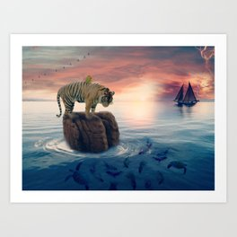 Tiger Drifting by GEN Z Art Print