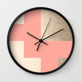 Simply Geometric White Gold Sands on Salmon Pink Wall Clock