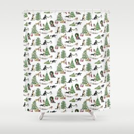 12 DOGS OF Christmas  Shower Curtain