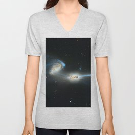 Colliding galaxies, Mice Galaxies, spiral galaxies in constellation Coma Berenices. Unisex V-Neck