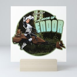 Moon Biker Pinup Mini Art Print