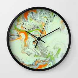 Bright Orange Marble Print - Colorful Graphic Art Wall Clock
