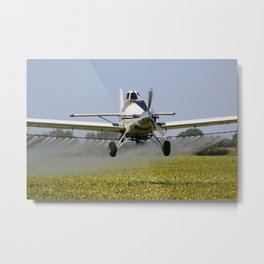 Airplane Spraying a Field Metal Print