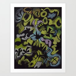 Don't Sit Under the Apple Tree,  Prismacolors on Stygian Black paper Art Print