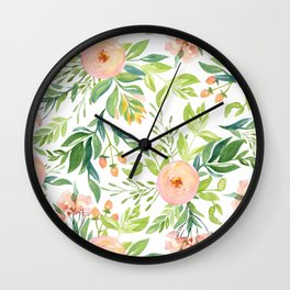 Happy Coral Pink + Green Rose Garden Wall Clock