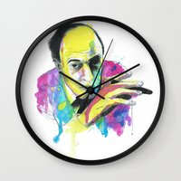 roald dahl Wall Clocks featuring Roald Dhal Watercolor by Enerimateos