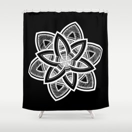 Authentic white mandala on black Shower Curtain