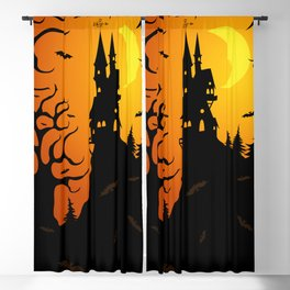 Scary dark forest with a fairy castle on top of the mountain lit by the bright light of the moon Blackout Curtain