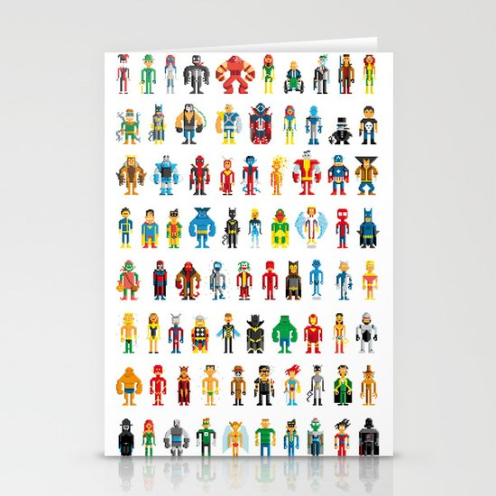 Pixel Heroes Stationery Cards