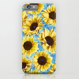 Dreamy Sunflowers on Blue iPhone Case