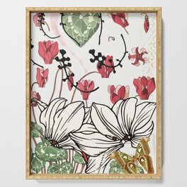 cyclamen collage Serving Tray