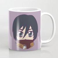 shingeki no kyojin Mugs featuring Shingeki no Kyojin - Chibi Mikasa Flats by Tenki Incorporated