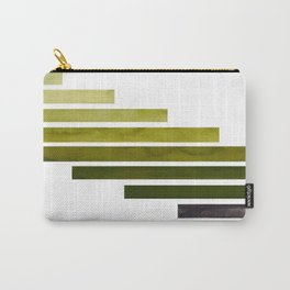 Olive Green Midcentury Modern Minimalist Staggered Stripes Rectangle Geometric Aztec Pattern Waterco Carry-All Pouch