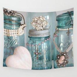 Vintage Mason Jars Shabby Chic Cottage Jeweled Decor Wall Tapestry