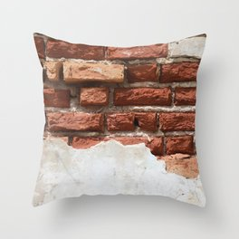 Broken Bricks Wall White and red Throw Pillow