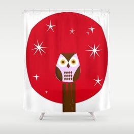 Owl ( alternative red version) Shower Curtain