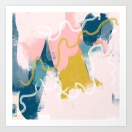 No strings attached- abstract brushmarks- pastel colours Art Print