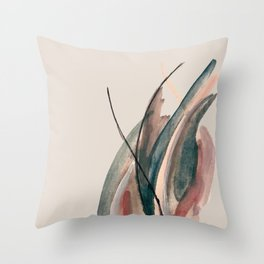 Slow Burn: a pretty, minimal, abstract mixed media piece using watercolor and ink Throw Pillow