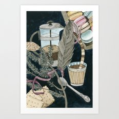 Still life with coffee, macarons, pine and feather Art Print