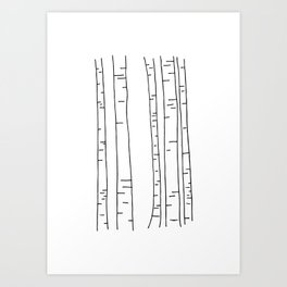 Minimal birches Art Print