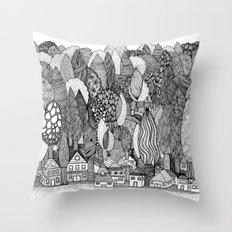 Mysterious Village Throw Pillow