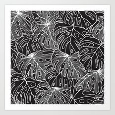 B&W Philodendron Art Print