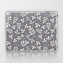Assorted Leaf Silhouettes Cream on Grey Ptn Laptop & iPad Skin