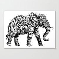 ornate elephant Canvas Prints featuring Ornate Elephant 3.0 by BIOWORKZ