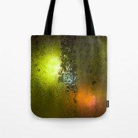 saga Tote Bags featuring Condensation 08 - Saga | Citrus by PRE Media